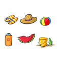 various beach objects vector image
