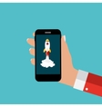Hand with Abstract Mobile Phone and Rocket as vector image vector image