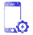 smartphone power options gear textured icon vector image