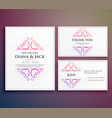 wedding card invitation design with thank you card vector image