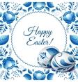 Round folk frame Happy Easter vector image