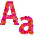 flower alphabet of red roses characters aa vector image vector image