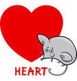 heart shape with cartoon mouse vector image
