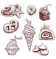 Collection of sweets in a decorative linear style vector image