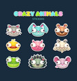 comic crazy animal faces set vector image
