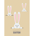 Happy Easter with white rabbits in a hole vector image