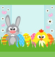 holiday easter background card with rabbit and vector image