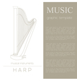 Musical instruments graphic template Harp vector image