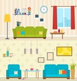 Set of Interiors of Living Rooms Decoration of vector image