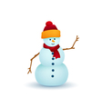 White Snowman Isolated on White Background vector image