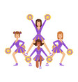 cheerleader girls with colorful pompoms dancing to vector image