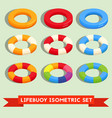 set of isolated lifebuoy or swimming ring vector image