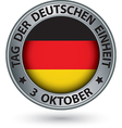 The day of german unity silver label with german vector image
