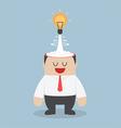 Light bulb of idea exploding from businessman head vector image