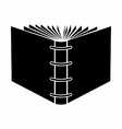 The end of open spiral book black simple icon vector image