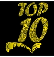 Top ten isolated text vector image