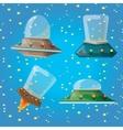 cartoon Flying Saucer Spaceship UFO Set vector image