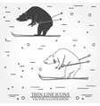Set of skiing bear icons vector image