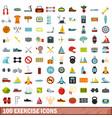 100 exercise icons set flat style vector image
