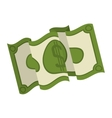 silhouette green bill doubled with symbol dollar vector image