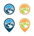adventure mountain pine tree logo vector image