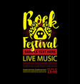 poster for a rock festival with skull on fire vector image vector image