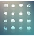 Set of Printer icons on Retina background vector image