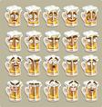cute series of smiles beer stickers vector image