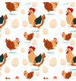 chicken and rooster farming seamless pattern vector image
