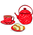 Cup of tea with buns vector image