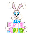 cute easter bunny with colorful eggs vector image