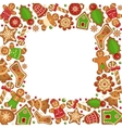 Gingerbread cookies frame vector image