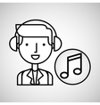 man hand drawing listening music note vector image