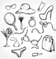 Set monochrome sketch female accessories Imitation vector image
