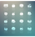 Set of Printer icons on Retina background vector image