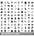 100 festive day icons set simple style vector image