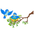 Birds with her two babies in the nest vector image