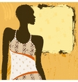 Grungy banner with an African woman vector image vector image