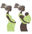 beautiful women silhouettes vector image