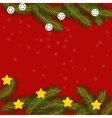 Christmas card with fir branches stars and vector image