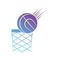 contour ball to play basketball sport vector image
