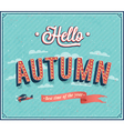 Hello autumn typographic design vector image