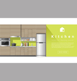 Interior design Modern kitchen background 3 vector image