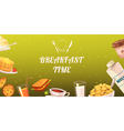 Set Of Snacks For Breakfast On Mustard Background vector image