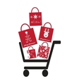 Shoping Crt with Christmas Bags vector image vector image