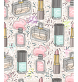 Seamless beauty pattern with make up vector image vector image
