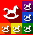 horse toy sign  set of icons with flat vector image