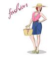 young beauty model woman and handbag isolated on vector image