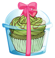 A cupcake container with a cupcake and a pink vector image vector image