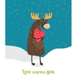 Love warms you Cute moose hugging big red heart vector image
